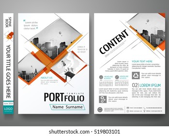Minimal cover book presentation. Orange abstract square brochure report business flyers magazine poster. Portfolio design template vector. City concept in A4 layout