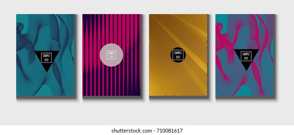 Minimal cover, cyan, magenta, yellow, purple, blue, pink business template. Bright hipster linear gradient background. Simple halftone background, zigzag, lines, waves abstract minimal cover template.