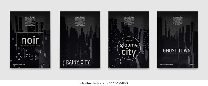 Minimal cover design. Abstraction of a rainy city, set of vector illustrations.