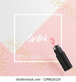 Minimal cover design with lipstick 3D vector illustration, frame and golden glitters. creative art for ad, banner, poster, cover, social media, promotion, print.