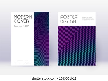 Minimal cover design template set. Neon abstract lines on dark blue background. Dazzling cover design. Creative catalog, poster, book template etc.