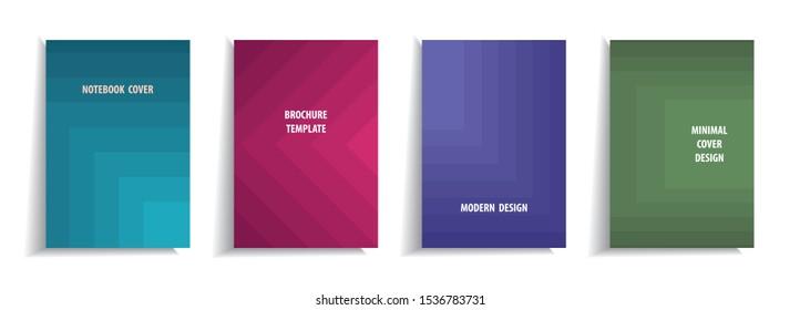 Minimal cover design templates set. Abstract geometric design. Adorable book, flyer, poster, catalog, notebook etc. Vector illustration.