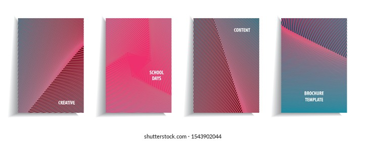Minimal cover design templates set. Linear background with gradient design. Adorable book, flyer, poster, catalog, notebook etc. Vector illustration. SMYK colors.