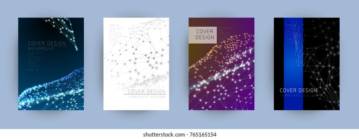 Minimal cover design, vector template brochures, flyers, presentations, leaflet, magazine a4 size. Abstract mash line and point on background.
