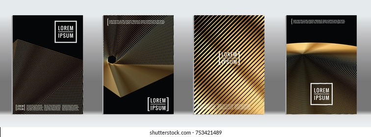Minimal Cover in Gold. Vector Geometric Abstract Line Pattern for Poster Design. Set of Minimal Covers for Business Brochures. Gold Black Banner Background. Graphic Pattern for Annual Album Backdrop.