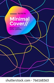 Minimal cover or poster design template. Abstract shape and lines with vibrant gradient. Vector illustration