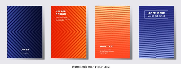 Minimal cover templates set. Geometric lines patterns with edges, angles. Halftone poster, flyer, banner vector backgrounds. Line shapes patterns, header elements. Cover page templates.