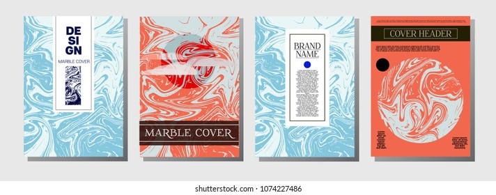Minimal Cover Templates Set. Hipster Marble Pattern. Vivid Pink, Blue Turquoise Invitation Spring Background. Chick VIP Luxury, Rich Minimal Cover Templates. Ebru Suminagashi Liquid Marble Texture