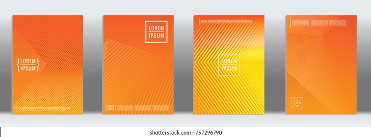 Minimal cover. Vector orange geometric abstract line pattern for poster design. Set of minimal covers for business brochure. 2d prints for banner background. Graphic pattern for annual album backdrop.
