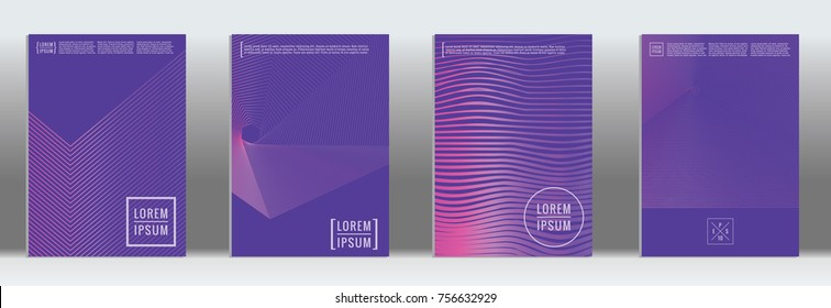 Minimal cover. Vector purple geometric abstract line pattern for poster design. Set of minimal covers for business brochure. 2d prints for banner background. Graphic pattern for annual album backdrop.