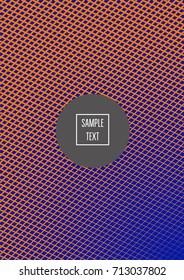 Minimal cover vector template. Bright contrast blue and orange 80s retro design. Neon background for business. Trendy hipster futuristic minimal covers. Lines or stripes edgy halftone blend template.