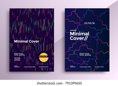Minimal covers design with color simple line. Vector graphics