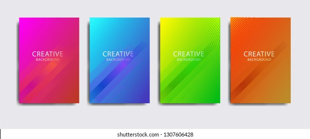 Minimal covers design. Colorful halftone gradients, modern abstrack cover set. Eps10 vector