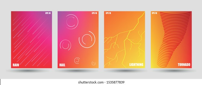 Minimal covers design. Colorful halftone gradients. Future geometric patterns. Set of brochures. Thunderstorm weather. Rain, hail, lightening, tornado abstract illustration. Eps10 vector.
