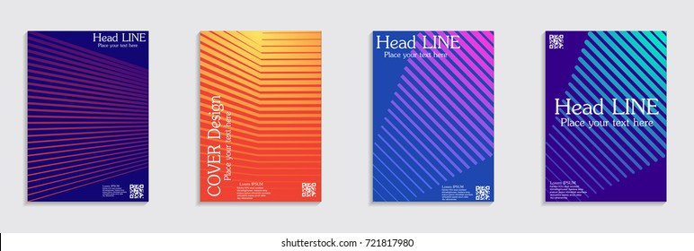Minimal covers design. Colorful halftone gradients. Future geometric patterns.