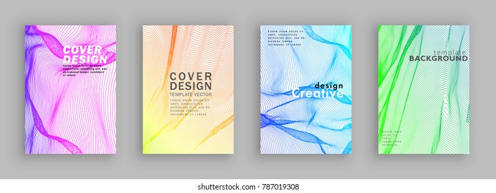 Minimal covers design. Colorful halftone gradients. Cloth fabric background geometric patterns. Vector template brochures, flyers, presentations, leaflet, magazine a4 size White background