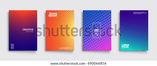 Minimal covers design. Colorful halftone gradients. Future geometric patterns. Eps10 vector.