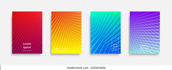 Minimal covers design. Colorful line design. Future geometric patterns. Eps10 vector.