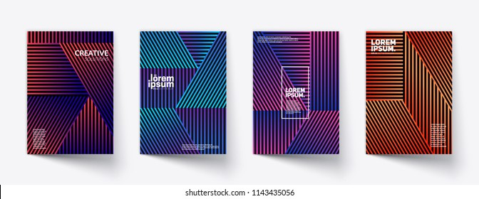 Minimal covers design. Colorful linear patterns. Eps10 vector.