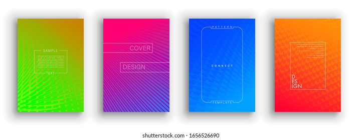Minimal covers design. Colorful set. Idustrial geometric patterns. Eps10 vector.