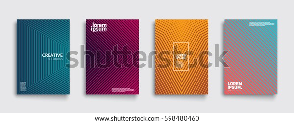 Minimal covers design. Geometric halftone gradients. Eps10 vector.