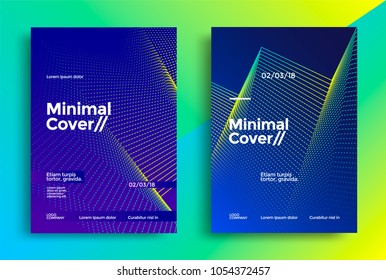 Minimal covers design with halftone gradient shapes. Poster template with geometric dot lines.