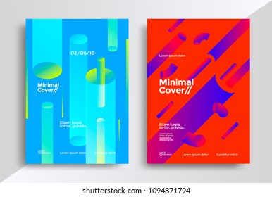 Minimal covers design with halftone gradient shapes. Poster template with geometric tubes.