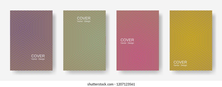 Minimal covers design with hexagon lines. Geometric halftone gradient backgrounds.  Striped Future geometric patterns with hexagons. Halftone lines texture backgrounds design.