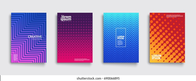 Minimal covers design set. Colorful halftone gradients. Future geometric patterns. Eps10 vector.