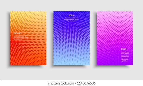 Minimal covers design. Vector colorful halftone gradients. Futuristic geometric patterns. Vector granular texture