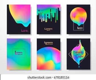Minimal covers design,gradients,neon shapes. Fluid cover,futuristic banner,holographic template,abstract flyer, liquid shapes colors,trendy science, minimalist brochure. Vector geometric illustration