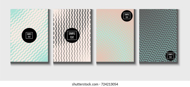 Minimal covers pearlescent template. Stripes, waves, zigzag in tender pink, grey, turquoise. Elegant noble ads poster background. Clean simple minimal covers design. Business futuristic linear pattern