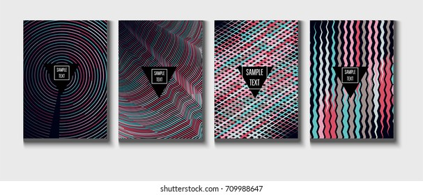 Minimal covers set. Trendy multicolored modern simple poster design. Funky hipster blue, turquoise, red, grey minimal covers. Geometric background, vector abstract linear pattern. Business identity.
