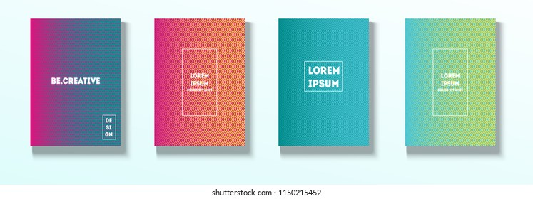 Minimal Covers, Vector Hipster Abstract Tech Neon Set. Magenta, Cyan, Yellow Corporate Identity Blend Wave Halftones. Trendy Business Minimal Covers, Retro Music Poster Colorful Gradient Shapes.