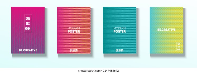 Minimal Covers, Vector Linear Abstract Tech Neon Set. Magenta, Cyan, Yellow Corporate Identity Blend Glitch Halftones. Simple Business Minimal Covers, Retro Ad Music Poster Bright Gradient Stripes