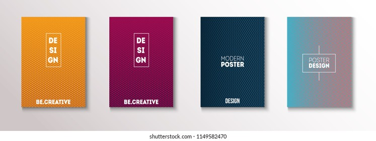 Minimal Covers, Vector Linear Abstract Tech Neon Set. Magenta, Cyan, Yellow Corporate Identity Blend Glitch Halftones. Simple Ad Business Minimal Covers, Retro Music Poster Bright Gradient Stripes