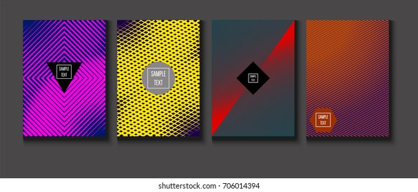 Minimal covers vector set. Trendy simple neon colored retro poster design. Futuristic glam and glitch four technical textured minimal covers. Halftone geometric modern business corporate blank paper.