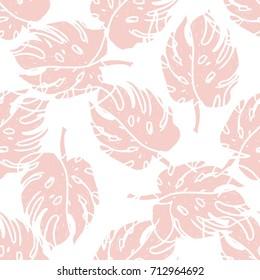 Minimal Creative Bohemian Design  Seamless Pattern Print .Hand Painted Pop Art Background Shapes ,Pastel Colors Foliage .