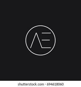 Minimal creative elegant clean circular shaped tech based black and white color EA A E initial based letter icon logo.