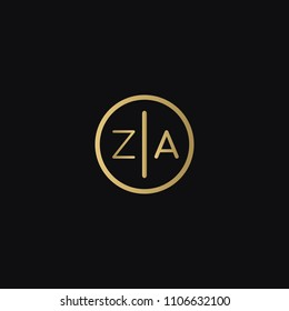 Minimal creative elegant ZA AZ Z A circular shaped business brand black and golden color initial based letter icon logo.