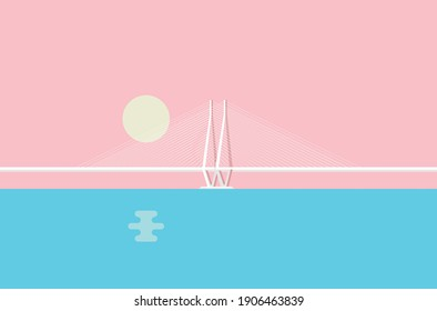 Minimal, creative, and pastel color vector illustration of the iconic Bandra–Worli Sea Link, officially called Rajiv Gandhi Sea Link