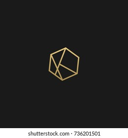 Minimal and Creative Unique Geometric Style K initial based black and gold color logo