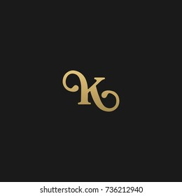 Minimal and Creative Unique Style K initial based black and gold color logo