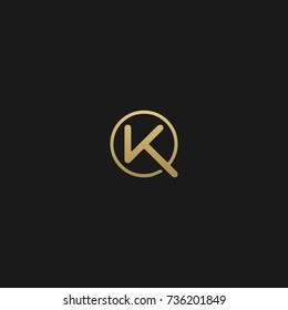 Minimal and Creative Unique Style VK initial based black and gold color logo