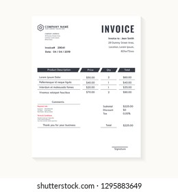 Minimal dark business invoice vector template