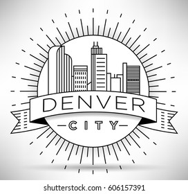 Minimal Denver Linear City Skyline with Typographic Design