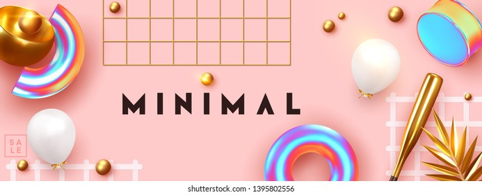 Minimal design background with realistic 3d objects of different shapes. creative abstraction poster, golden palm leaves, gold sphere, ball round, Pattern with geometric figure. art trendy composition