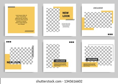 Minimal design layout. Editable square abstract modern geometric shape banner template for social media post promotion. Golden yellow and black frame in black and white background with stripe line.