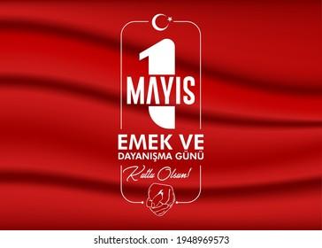 Minimal design for May 1st labor and solidarity day card. (Turkish: 1 mayıs emek ve dayanışma günü, işçi bayramı kutlu olsun) Labour day design for label, social media, banner.