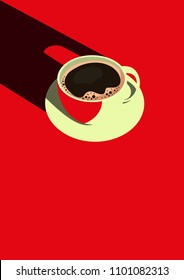 Minimal Design Poster Coffee Cup And Color Red Background & Good Morning Text. Top View Coffee vector and Illustration